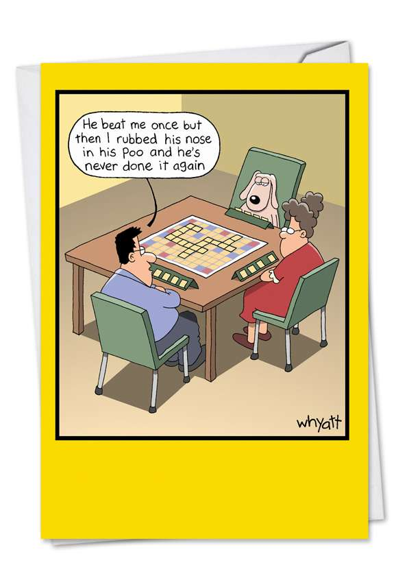 Scrabble Dog: Hilarious Birthday Paper Card