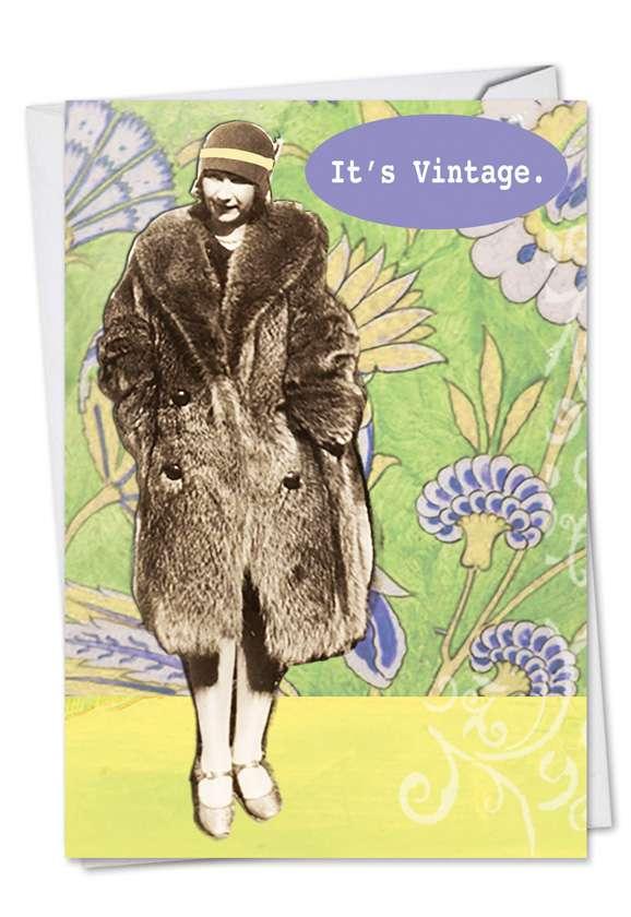 Vintage Fur: Funny Birthday Greeting Card