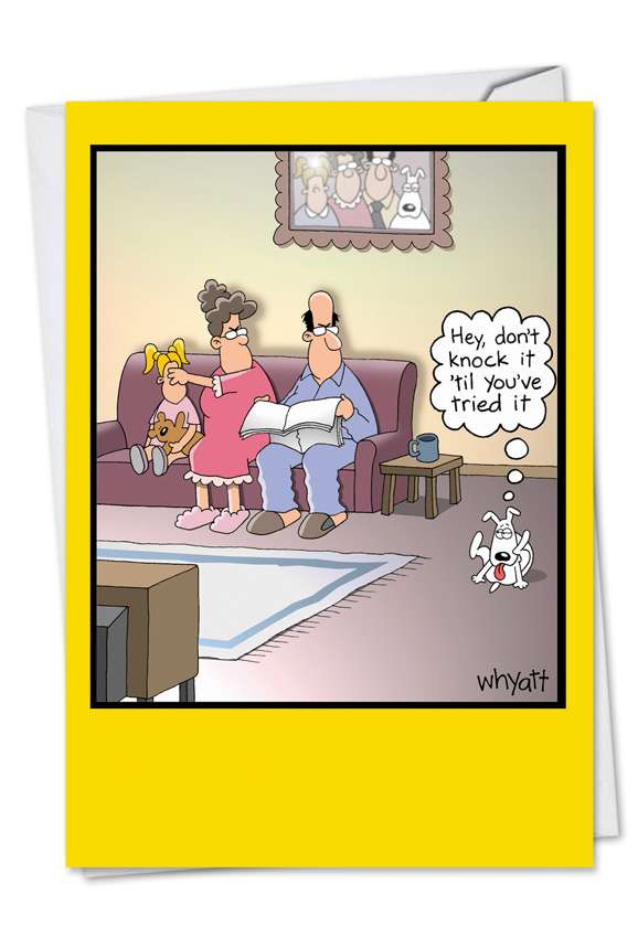 Dog Lick: Funny Birthday Printed Greeting Card