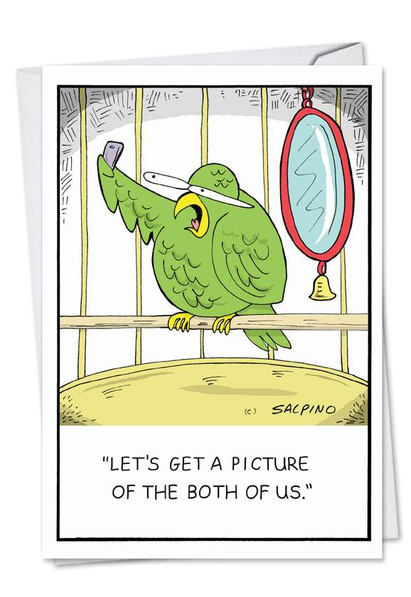Parrot Selfie: Funny Birthday Paper Greeting Card
