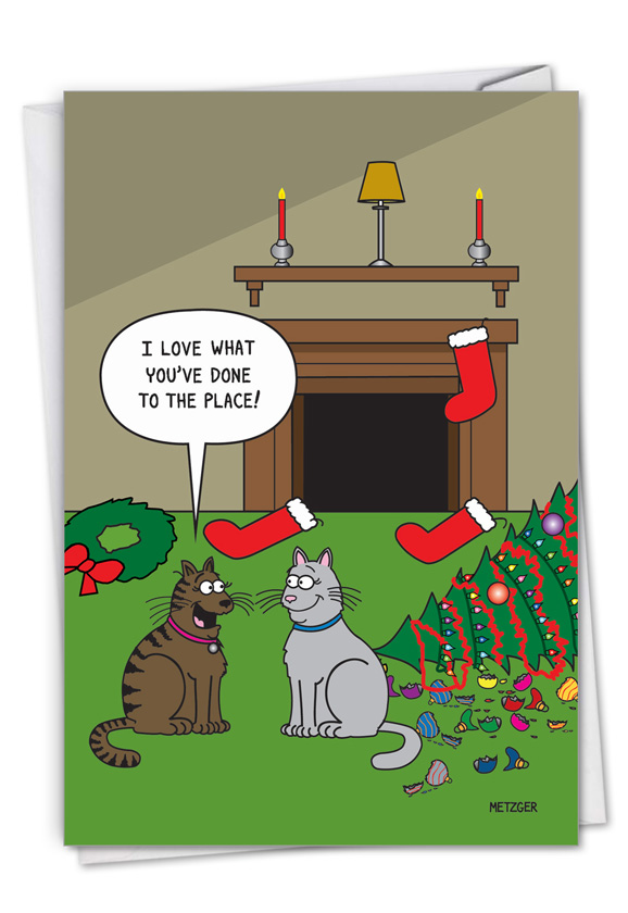 Cat Christmas Decor: Funny Merry Christmas Paper Greeting Card