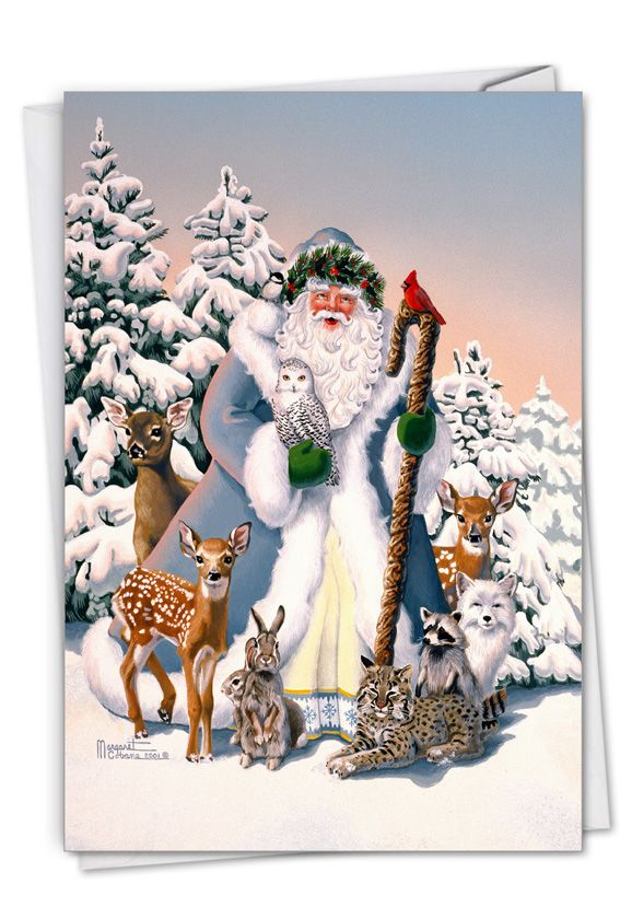 Winter Wonderland Wildlife - Wreath Crown Card