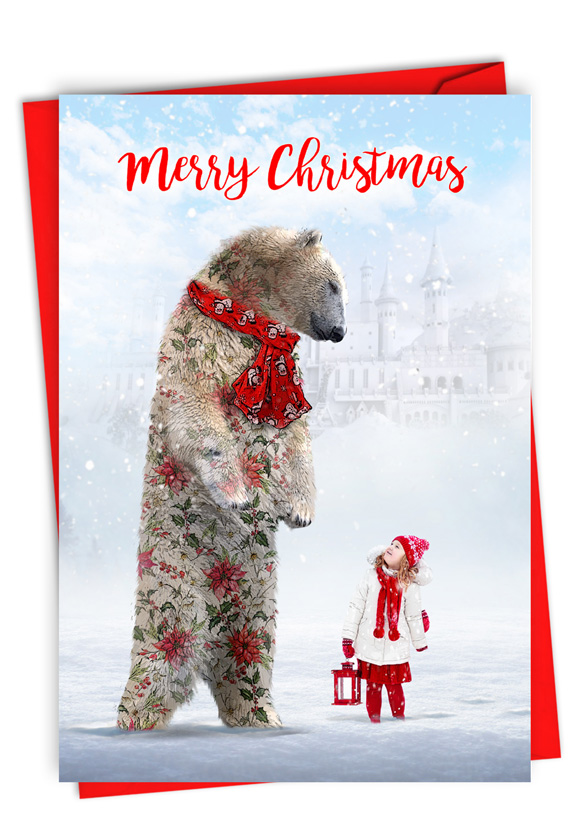 Patterned Animals - Bear: Stylish Merry Christmas Card