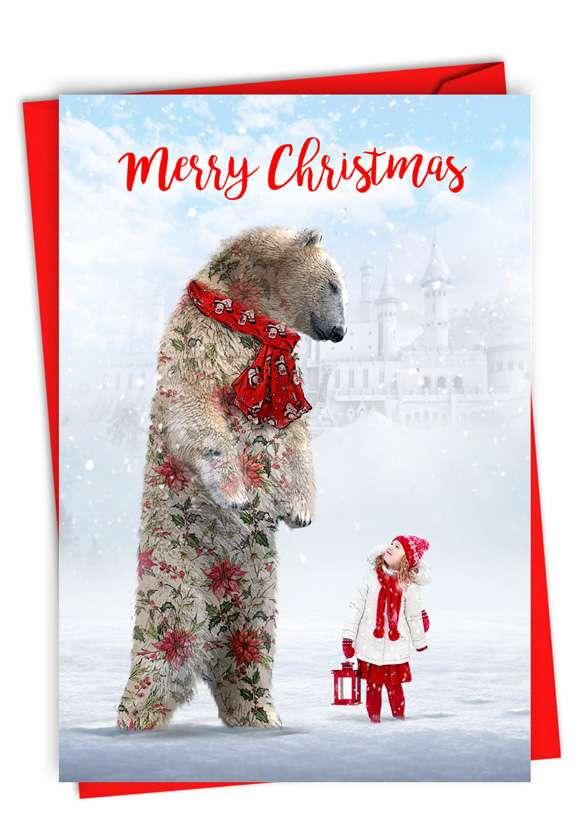 Patterned Animals - Bear: Stylish Merry Christmas Card