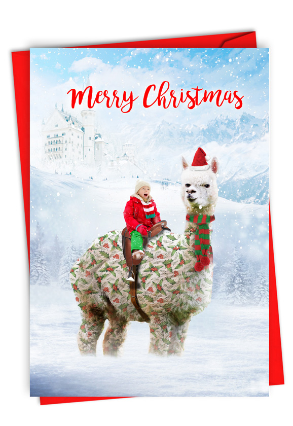 Patterned Animals - Llama: Stylish Merry Christmas Paper Card