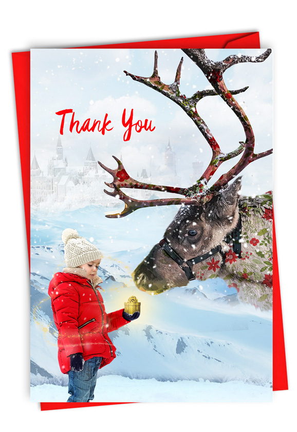 Patterned Animals - Reindeer: Stylish Christmas Thank You Card