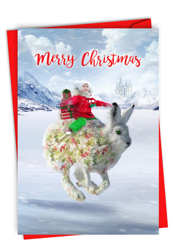 Patterned Animals - Rabbit: Stylish Merry Christmas Paper Card