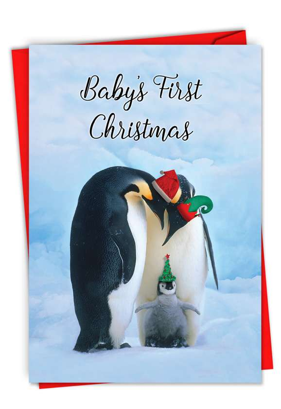 Penguins and Greetings-Baby's First Christmas: Hysterical Merry Christmas Printed Card