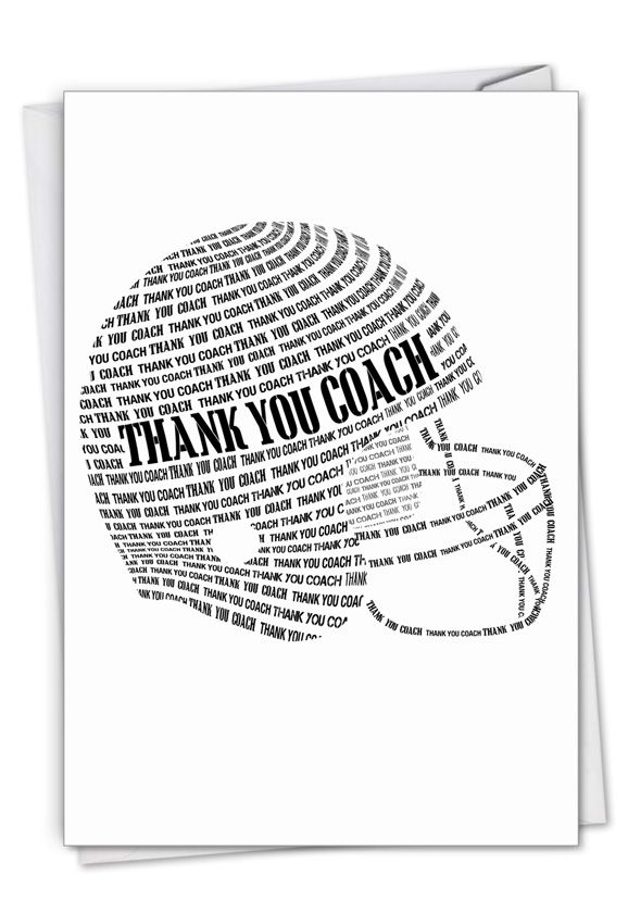 Football Helmet: Stylish Thank You Paper Greeting Card