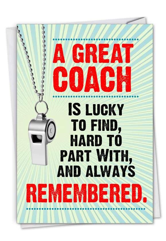 Memorable Coach: Hilarious Thank You Printed Greeting Card