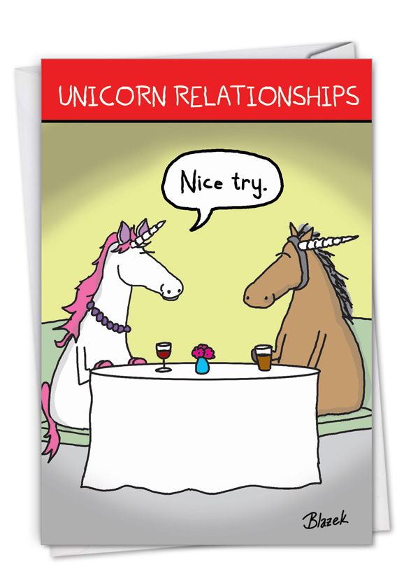 Unicorn Relationships: Hysterical Valentine's Day Printed Greeting Card