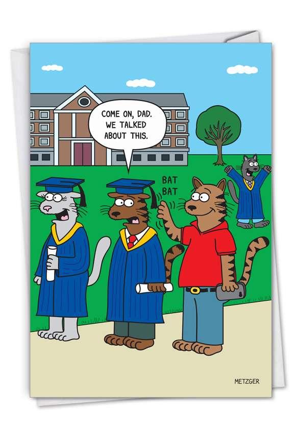 Cat Grad: Humorous Graduation Paper Greeting Card