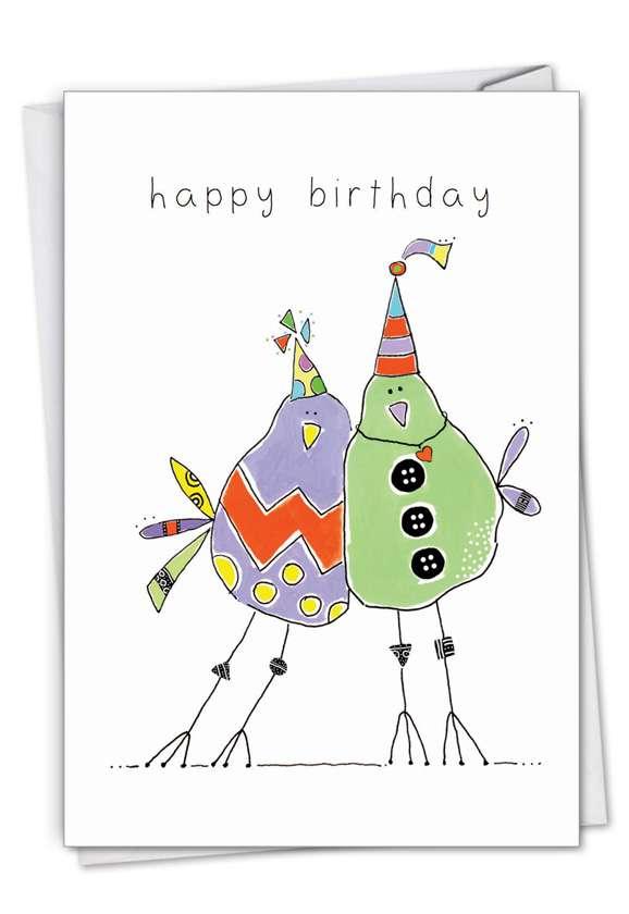 Wordy Birdies: Stylish Birthday Paper Card