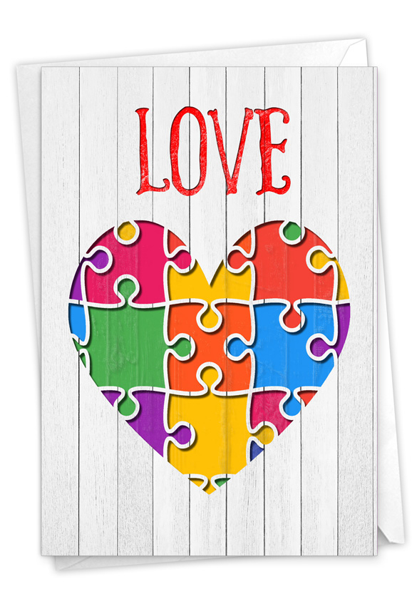 Jigsaw Hearts: Stylish Valentine's Day Card