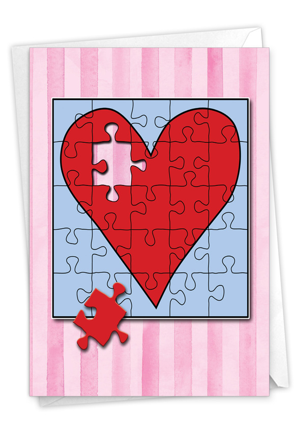 Jigsaw Hearts: Creative Valentine's Day Greeting Card