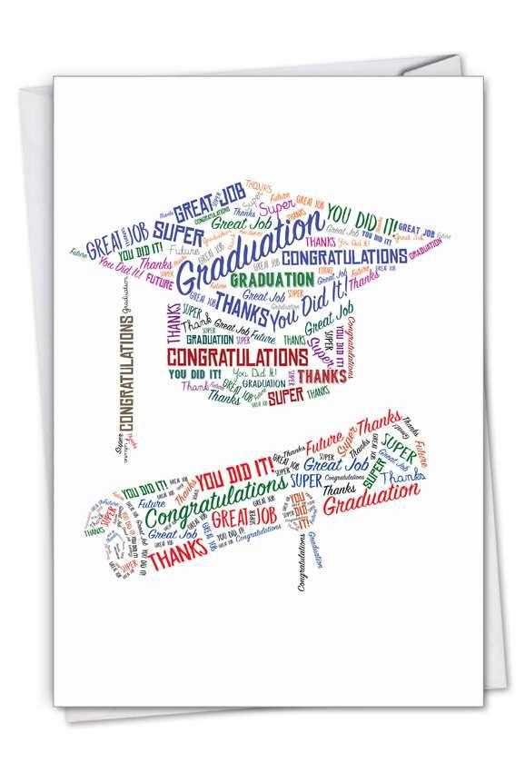 Diploma Wordart: Creative Graduation Printed Greeting Card