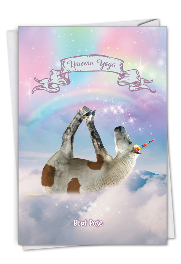 Rainbow Unicorn Yoga: Creative Thank You Printed Greeting Card