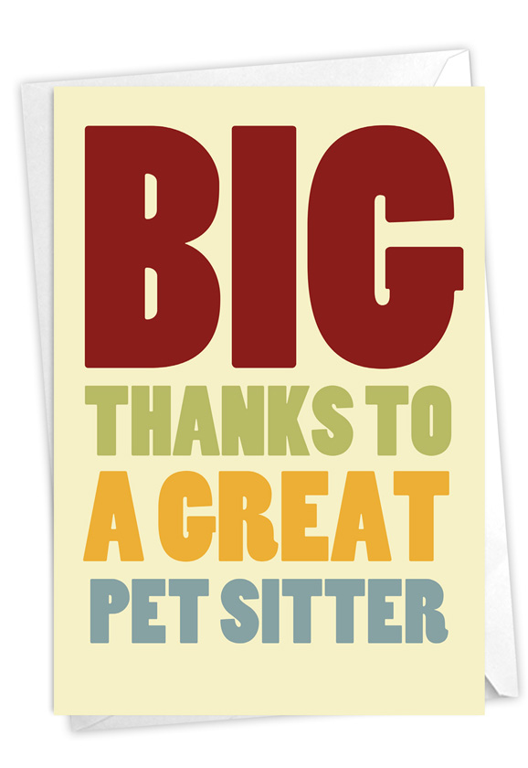 Pet Sitter: Humorous Thank You Paper Greeting Card