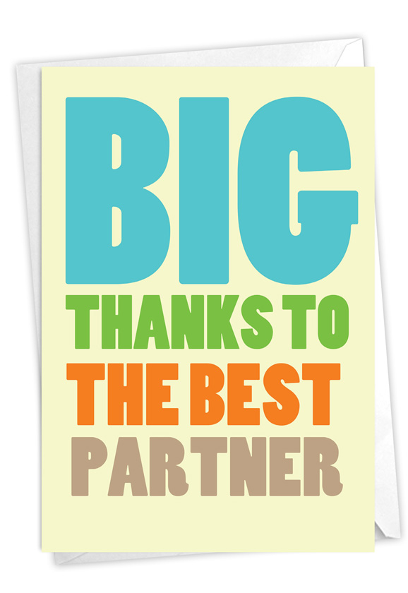 Best Partner: Hysterical Thank You Printed Greeting Card