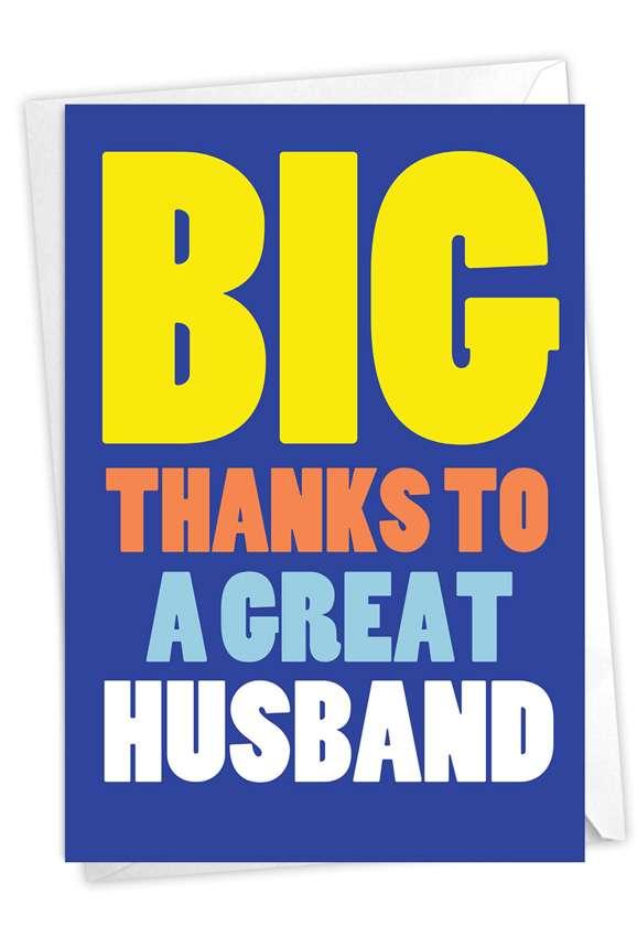 Great Husband: Hilarious Thank You Printed Greeting Card