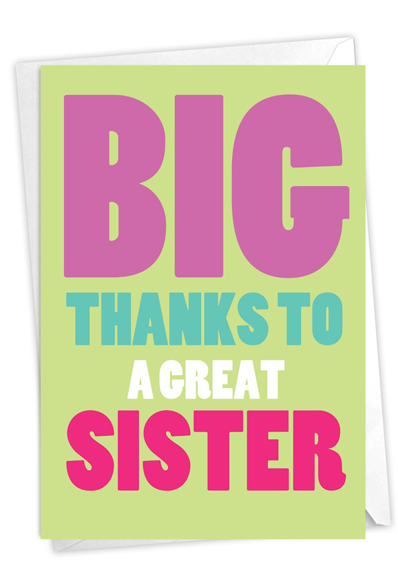 Great Sister: Humorous Sister Thank You Card