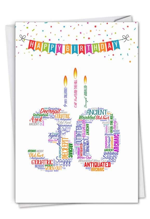 Word Cloud-30: Funny Milestone Birthday Paper Greeting Card