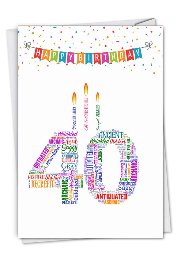 Word Cloud-40: Hilarious Milestone Birthday Printed Greeting Card