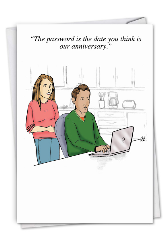 Special Password: Funny Anniversary Paper Card