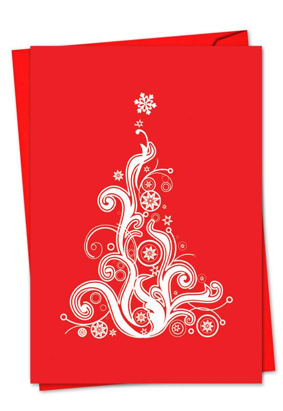 Fanciful Firs: Creative Christmas Greeting Card