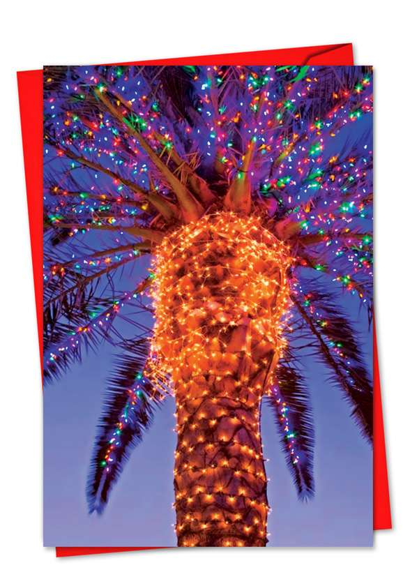 Holiday Palms: Stylish Christmas Printed Greeting Card