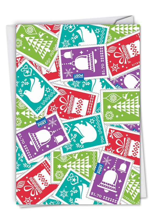 Stamps of the Season: Stylish Christmas Paper Greeting Card
