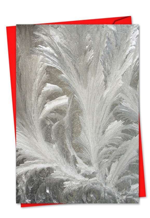 Ice Feathers: Stylish Christmas Printed Greeting Card