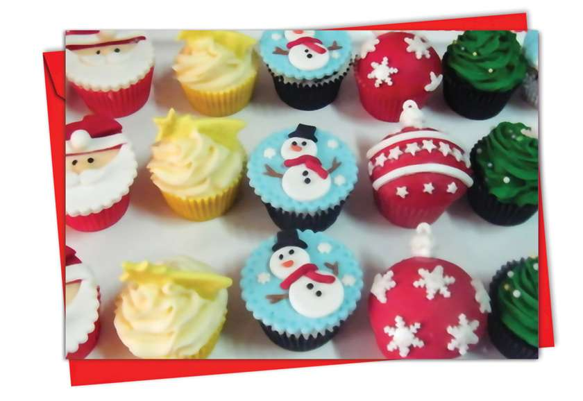 Christmas Cupcakes: Stylish Christmas Paper Greeting Card