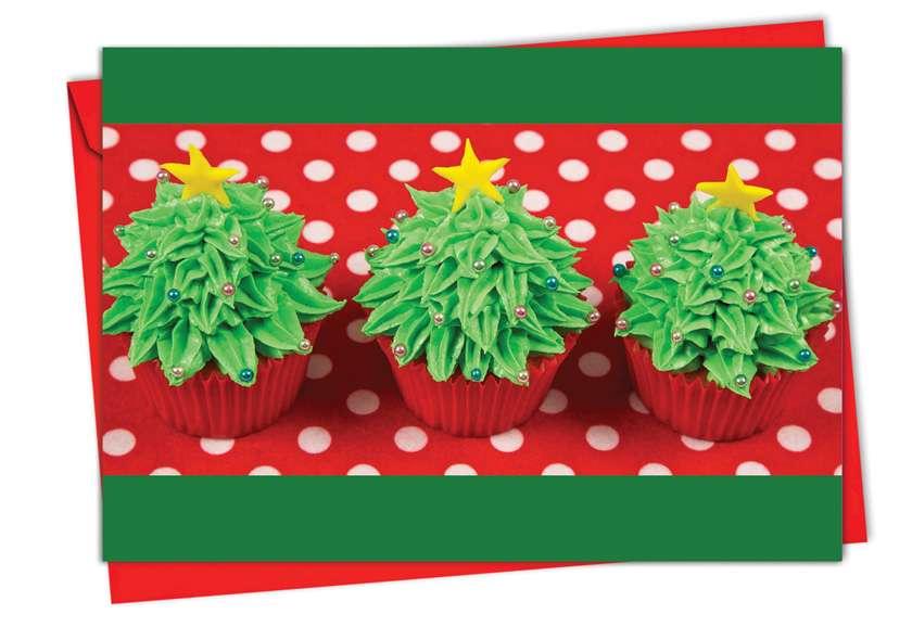 Christmas Cupcakes: Creative Christmas Printed Greeting Card