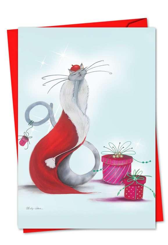 Catitude Festive Felines: Stylish Christmas Greeting Card