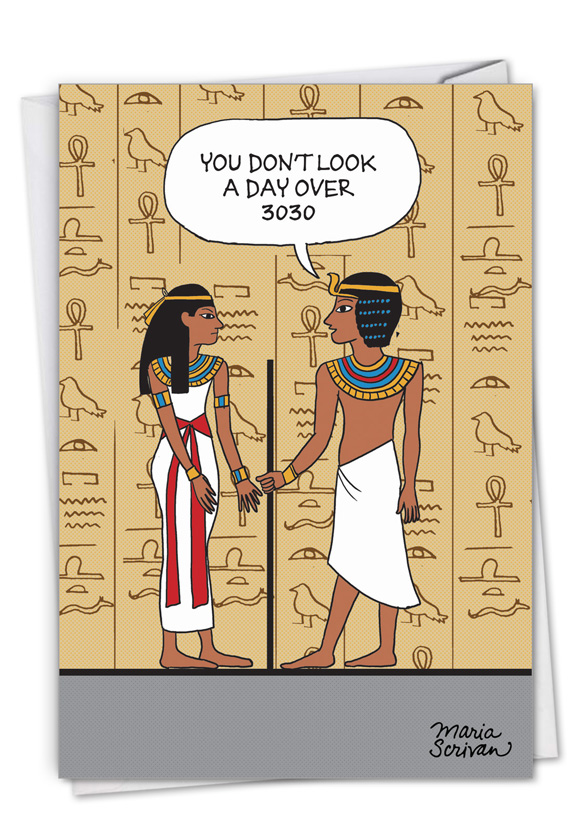 Ancient Compliment: Humorous Birthday Paper Greeting Card