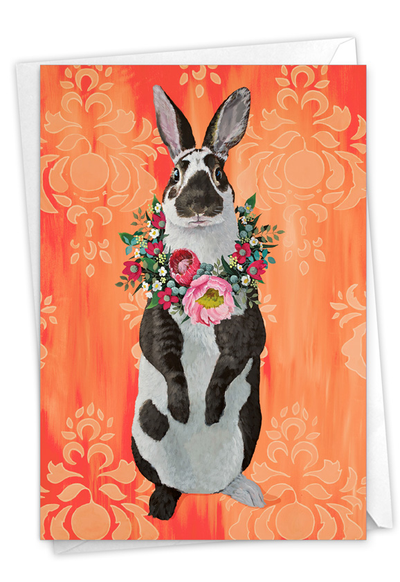 Fancy Wildlife - Rabbit: Stylish Easter Paper Greeting Card