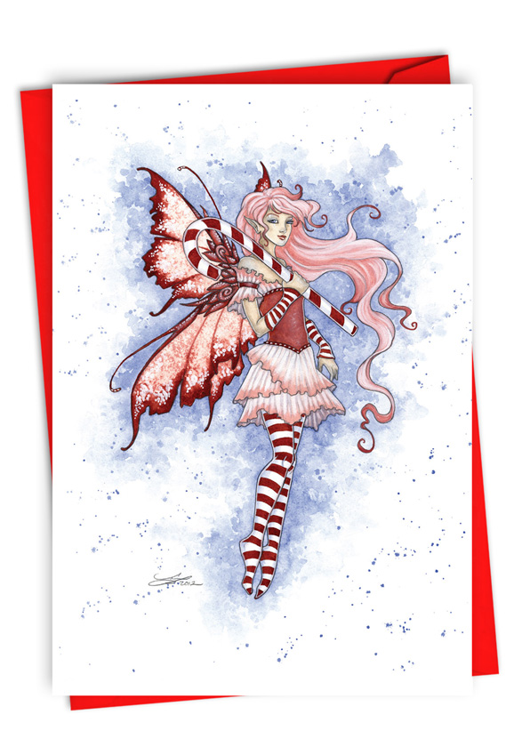 Holiday Fairies - Candy Cane: Stylish Merry Christmas Paper Card