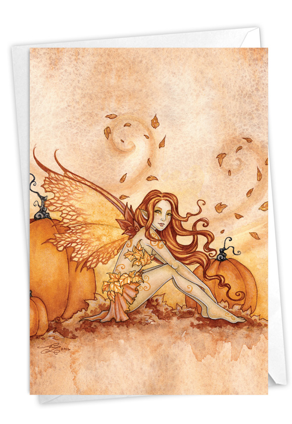 Fall Fairies - Pumpkins and Leaves: Stylish Halloween Paper Greeting Card