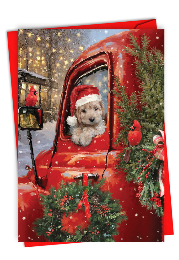 Red Truck Puppies: Stylish Merry Christmas Paper Greeting Card