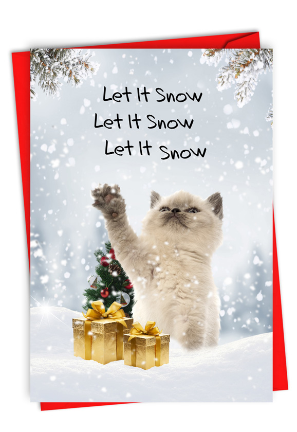 Cat Snow Celebration: Funny Merry Christmas Paper Greeting Card
