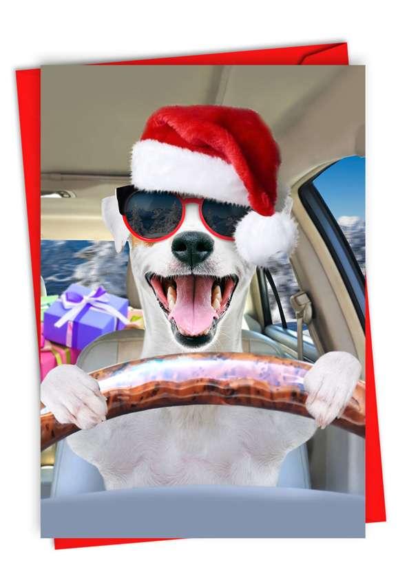 Santa Dog Driver: Humorous Merry Christmas Card