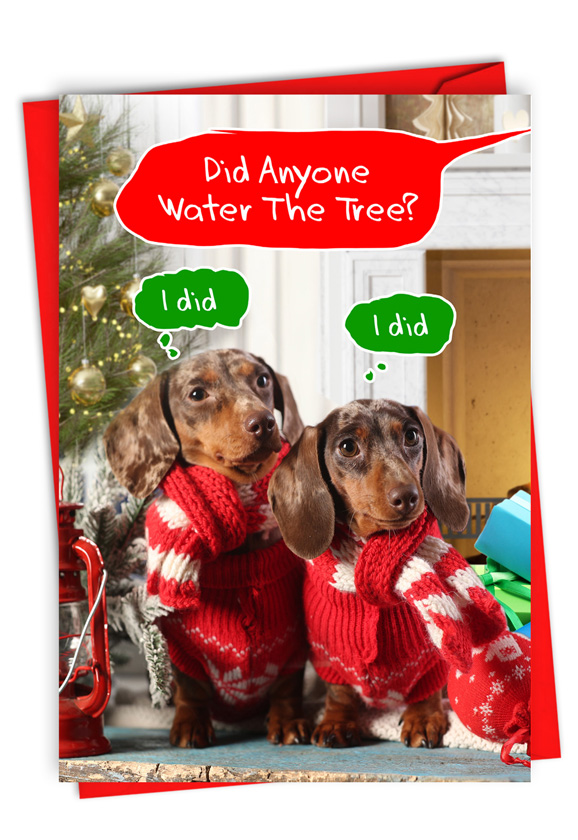 Watering The Tree: Humorous Merry Christmas Paper Greeting Card