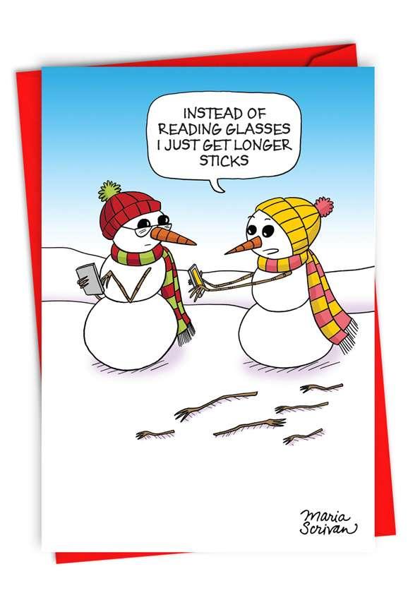 Longer Sticks: Humorous Merry Christmas Paper Card