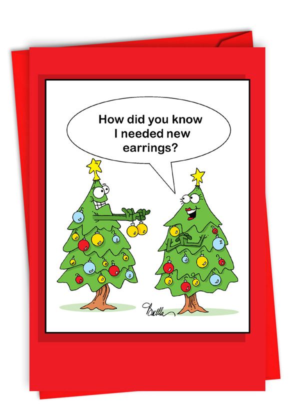 Tree Earrings: Funny Merry Christmas Paper Greeting Card