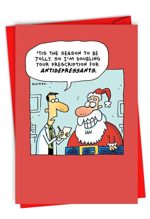 Jolly Santa: Humorous Merry Christmas Paper Greeting Card