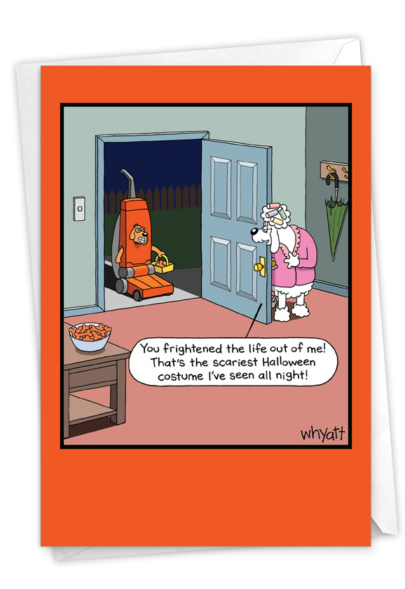 Vacuum Dog: Funny Halloween Paper Greeting Card