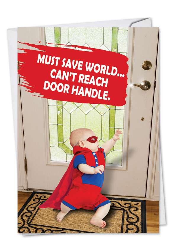 Must Save World: Hilarious Father's Day Paper Greeting Card