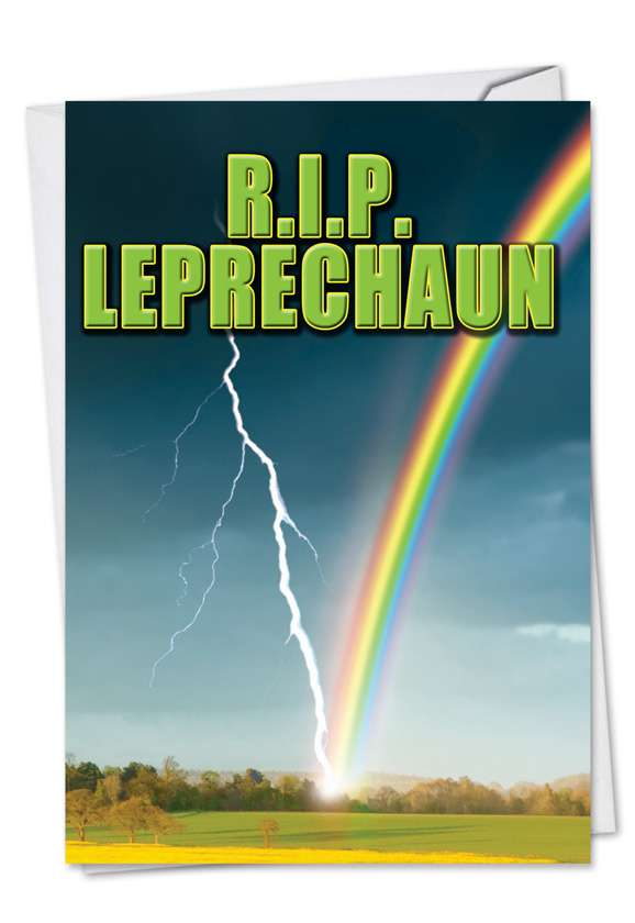 R.I.P. Leprechaun: Humorous St. Patrick's Day Printed Greeting Card