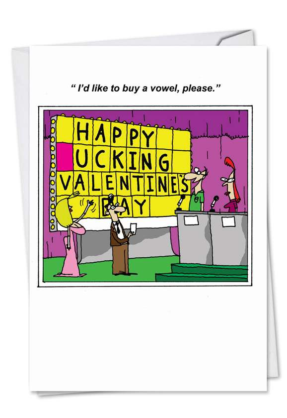 Love in Jeopardy: Humorous Valentine's Day Paper Greeting Card
